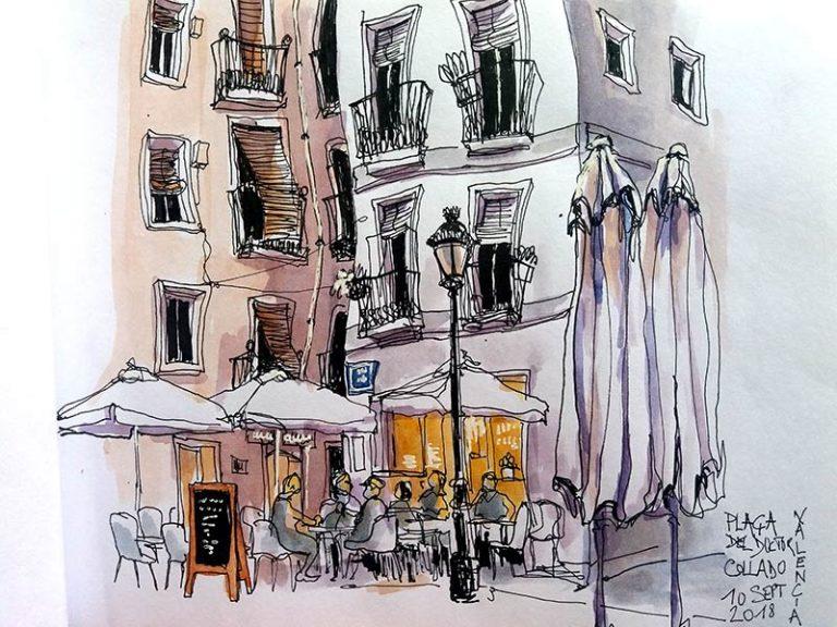 dibujo en una plaza de valencia